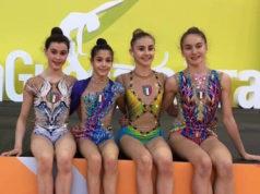 La Nazionale Italiana Junior agli Europei in corso a Guadalajara: le fabrianesi Sofia Raffaeli e Talisa Torretti sono la seconda e la quarta da sinistra