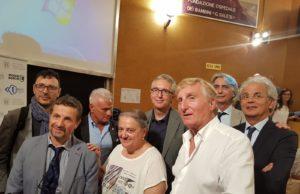 Gli ospiti della conferenza stampa che si è tenuta ad Ancona sul nuovo ospedale Salesi