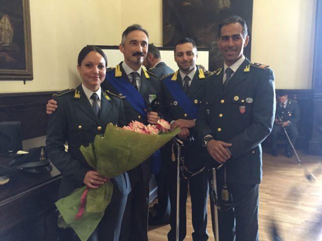 Il Luogotenente Alessandro Patti, il capitano Alessandro Margottini, il tenente colonnello Francesco Salvo e il maresciallo Martina Urso