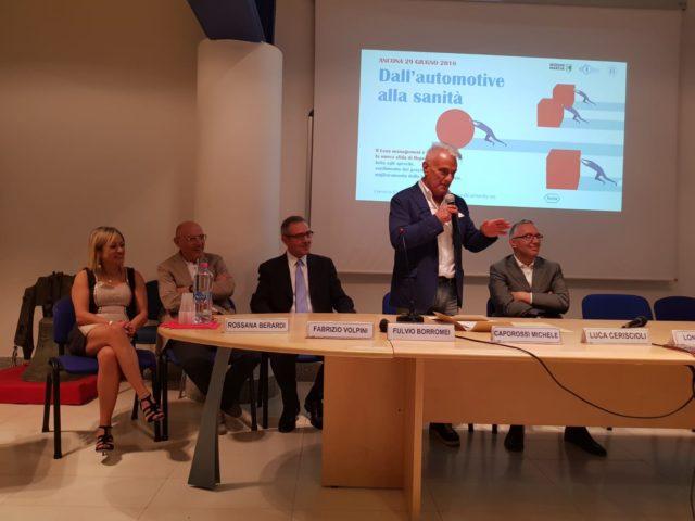 Nella foto da sx: Rossana Berardi, Fabrizio Volpini, Fulvio Borromei, Michele Capirossi e Luca Ceriscioli