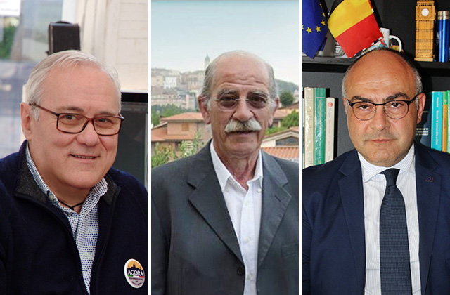 i candidati a sindaco di Ostra Vetere Giordano Rotatori, Rodolfo Pancotti e Massimo Bello