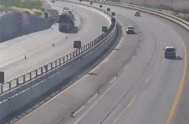 L'autostrada A14 all'altezza di Senigallia: circolazione difficoltosa per i lavori