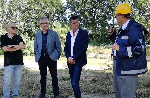 Il sopralluogo alle Bettolelle di Senigallia per i lavori sul fiume Misa