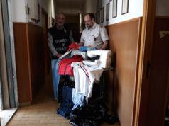 La merce sequestrata nel laboratorio al quarto piano dell'Hotel House di Porto Recanati