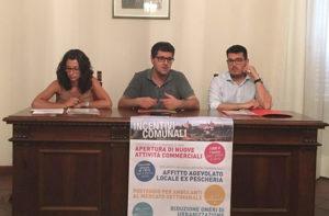 Presentati gli incentivi per il rilancio di Belvedere Ostrense: da sinistra Sara Ubertini, Riccardo Piccioni e Luca Baldi