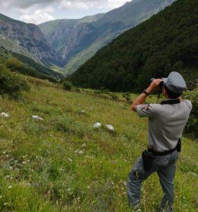 Carabiniere Forestale in servizio sui Monti Sibillini