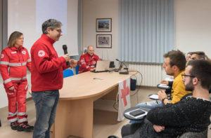 Il presidente del comitato di Senigallia Marco Mazzanti al corso per i nuovi volontari Cri