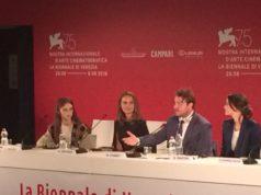 Un momento della conferenza Vox Lux con Natalie Portman
