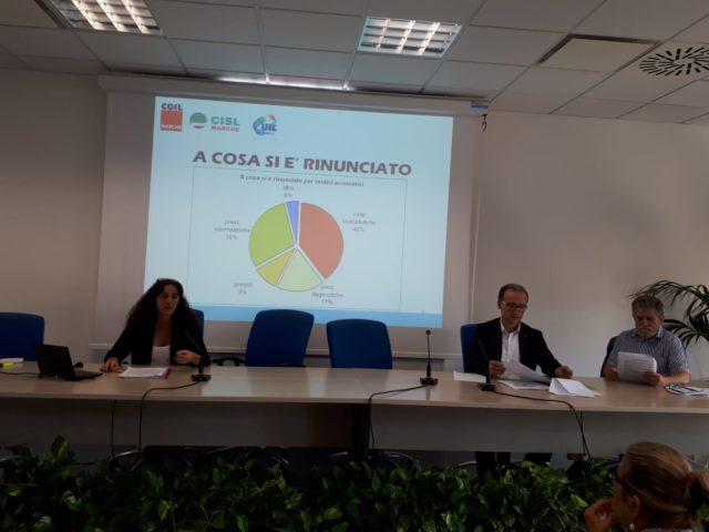 Da sinistra, Daniela Barbaresi, Sauro Rossi, segretario Cisl Marche e Graziano Fioretti, segretario Uil Marche