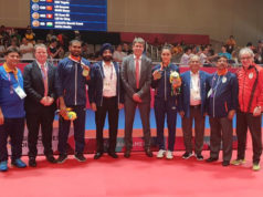 Massimo Costantini alla premiazione dei suoi due atleti della nazionale indiana ai Giochi Asiatici 2018 a Giacarta