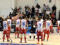 L'Italservice Pesaro ringrazia i tifosi dopo la partita col Came Dosson