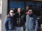Bruno Ondo Mengue accolto alla stazione dai dirigenti Gasparrini e Lupacchini
