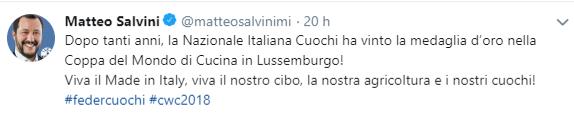 Il tweet di Matteo Salvini