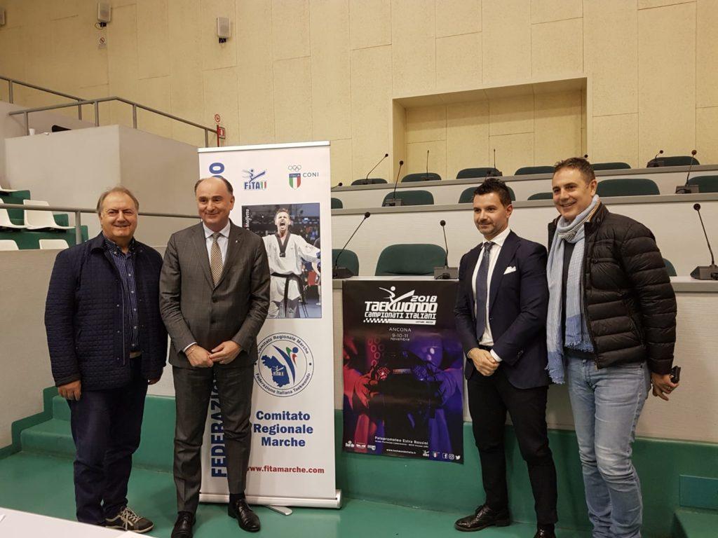 Da sinistra Andrea Carloni, Fabio Luna, Andrea Guidotti e Marco Porcarelli