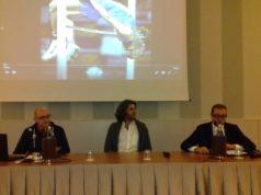 Al tavolo, da sinistra: Luciano Sabbatini, Giammarco Tamberi, Paolo Perlini