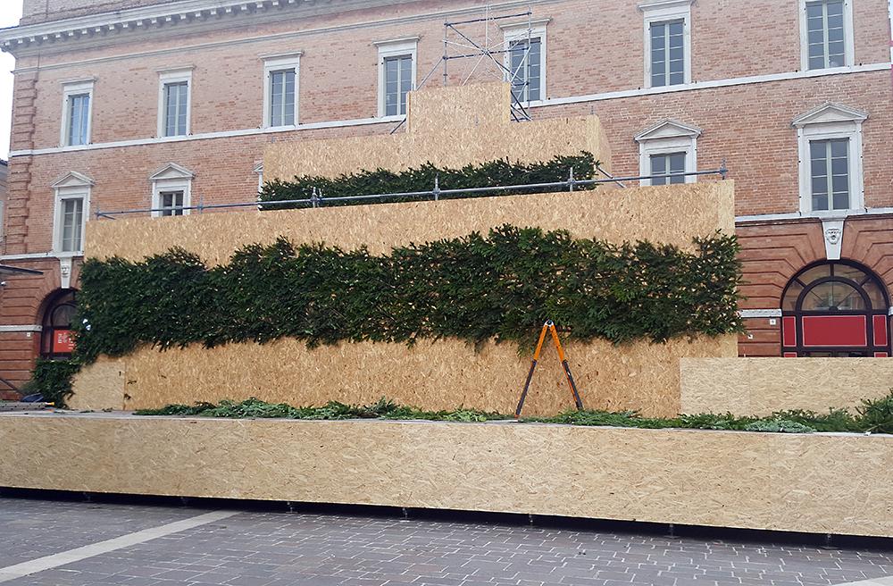 L'albero-palcoscenico allestito in piazza della Repubblica