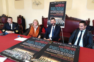 La presentazione del concerto della banda della Marina Militare a Senigallia a favore del comune terremotato di Pieve Torina