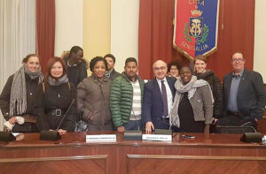 I rappresentanti della Lega assieme ai componenti della Consulta degli immigrati