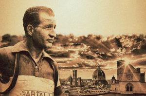 Gino Bartali al centro dell'incontro a Corinaldo
