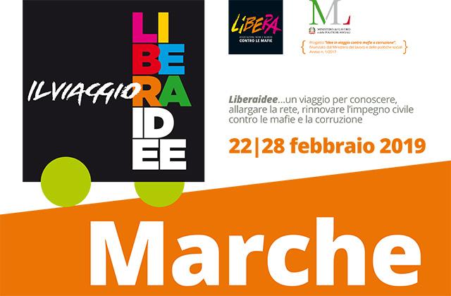 """Il manifesto della rassegna """"LiberaIdee. Il viaggio"""" promosso da Libera Marche"""
