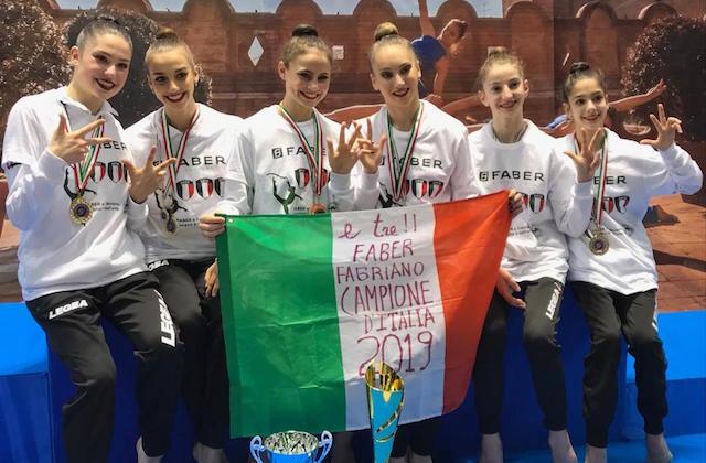 La Faber Ginnastica Fabriano per la terza volta Campione d'Italia nella ritmica