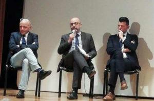Fabrizio Volpini, Antonio Mastrovincenzo e Maurizio Mangialardi al convegno a Senigallia sulla salute come bene collettivo