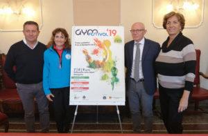 Presentata l'edizione 2019 di GymFestival: da sinistra Maurizio Memè, Stefania Dottori, Marco Petrini e Francesca Appiotti
