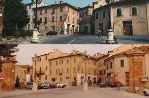 Ostra, largo XXVI Luglio nel 1975 (sopra) e nel 1995 (sotto). Foto di Giancarlo Barchiesi