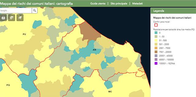 La mappa del rischio idraulico elaborata dall'Istat