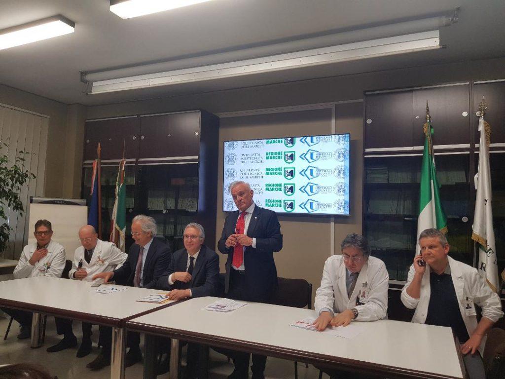 Da sinistra Luca Burroni, Giulio Argalia, Sauro Longhi, Luca Ceriscioli, Michele Caporossi, Andrea Giovagnoni, Gabriele Polonara