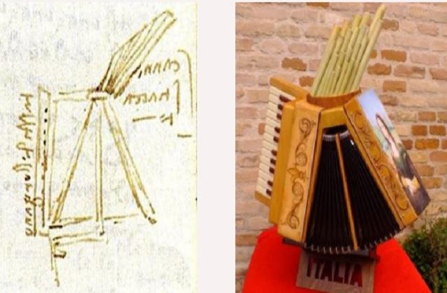 Il disegno di Leonardo da Vinci e la fisarmonica realizzata dagli alunni fidardensi