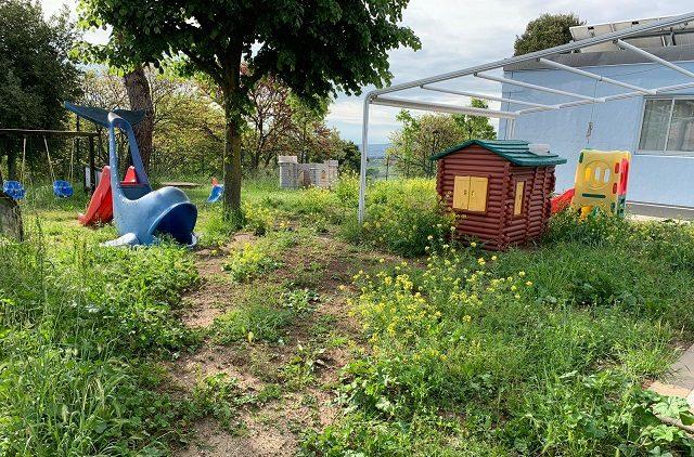 Erba alta nel giardino dell'asilo nido comunale (Foto: Lorenzo Rabini)