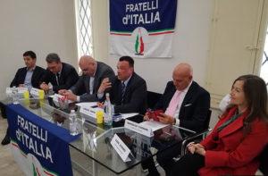 Il portavoce provinciale di Fratelli d'Italia Lorenzo Rabini con il coordinatore nazionale Guido Crosetto e i vertici regionali