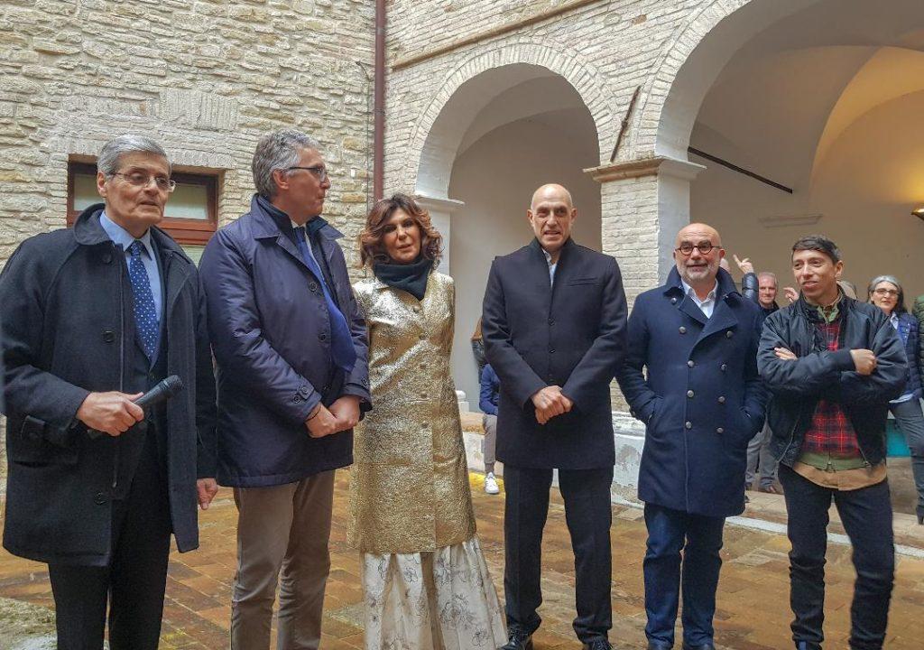 Da sinistra Tommaso Borri, Luca Ceriscioli, Francesca Merloni, Francesco Casoli, Marcello Smarrelli e Patrick Tuttofuoco