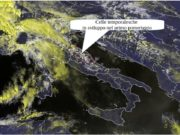 Immagine MSG del 24/04/2019 ore 14:15 UTC, dalla quale si vedono le celle temporalesche in sviluppo (nuclei gialli). Analoga situazione si verificherà il 25/04/2019, con l'unica differenza che i temporali saranno più numerosi