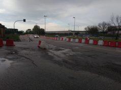 La rotatoria provvisoria di via Ancona