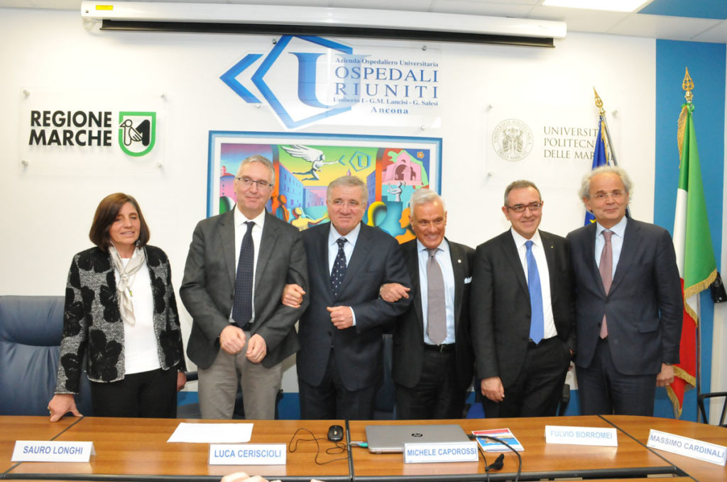 Da sinistra Stefania Maggi, Luca Ceriscioli, Massimo Cardinali, Michele Caporossi, Fulvio Borromei e Sauro Longhi