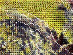 Immagine satellitare. In giallo i sistemi temporaleschi. Le frecce rappresentano il vento al suolo