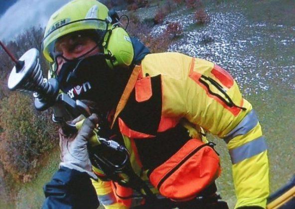 Sandro Mangiacristiani durante un soccorso