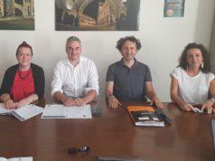 Protocollo d'intesa tra il Comune di Fabriano e Slow Food Marche. Da sinistra: Barbara Pagnoncelli, Gabriele Santarelli, Ugo Pazzi e Silvia Gregori
