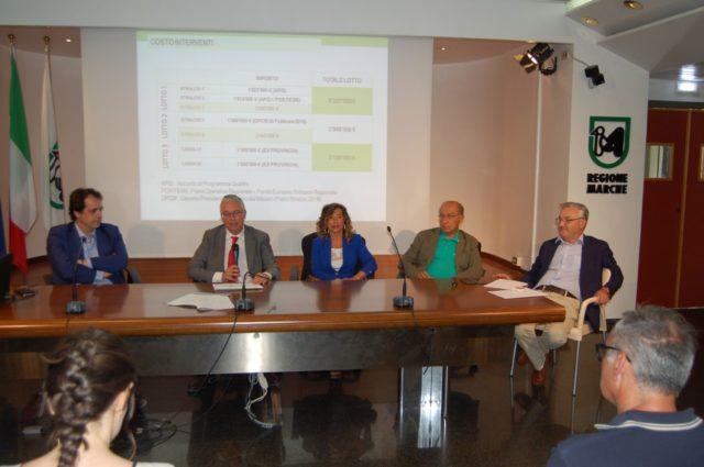 Da sin. Damiano Costantini, Luca Ceriscioli, Stefania Signorini, Clemente Rossi e Angelo Sciapichetti