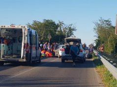 I soccorsi all'uomo ferito per l'incidente avvenuto a Numana