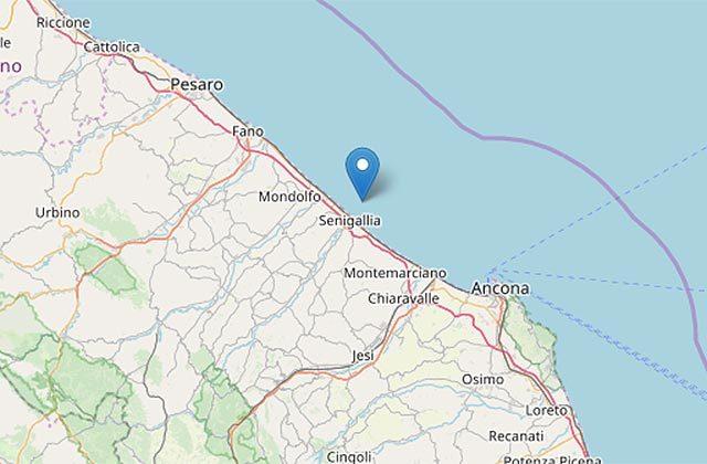 La mappa del terremoto a largo di Senigallia
