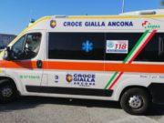 L'ambulanza della Croce Gialla di Ancona