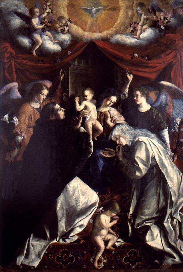 """Orazio Gentileschi, la Madonna del Rosario Olio su tela (1613 - 1617), alla Pinacoteca civica """"B.Molajoli"""" di Fabriano"""