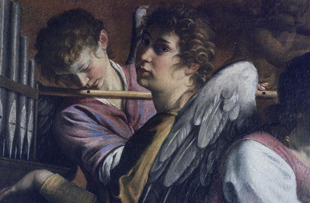 """Orazio Gentileschi: Particolare della """"Circoncisione"""" con Artemisia Gentileschi nelle vesti di Santa Cecilia"""