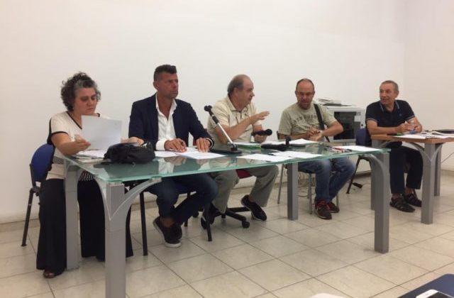 I relatori: l'architetto Giuliani, il sindaco Mangialardi, i consiglieri Sartini e Gregorini