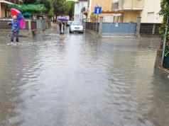 Uno degli allagamenti di via Colombo e via Cavalieri di Vittorio Veneto avvenuto nel settembre 2017