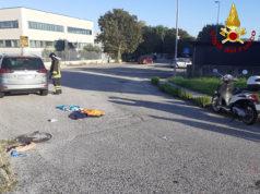 Vigili del fuoco sul luogo dell'incidente avvenuto a Jesi