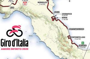 Il percorso della tappa del Giro d'Italia nelle Marche nel 2020